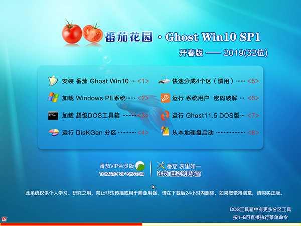 番茄花园GHOST WIN10 X86 2019 开春版
