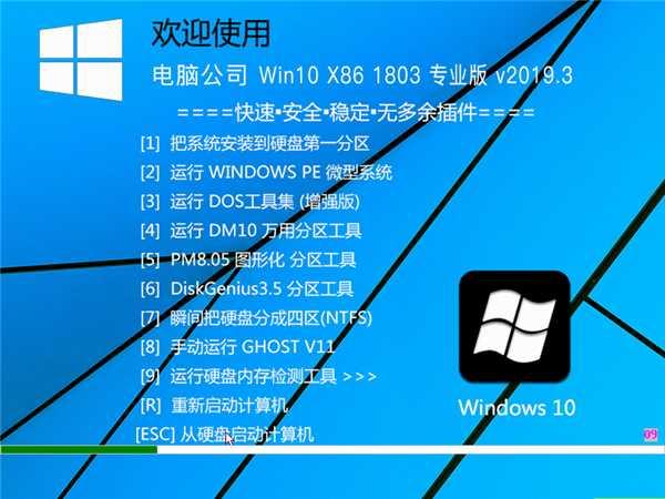 电脑公司 WIN10 X86 1083 专业版32位 v201903