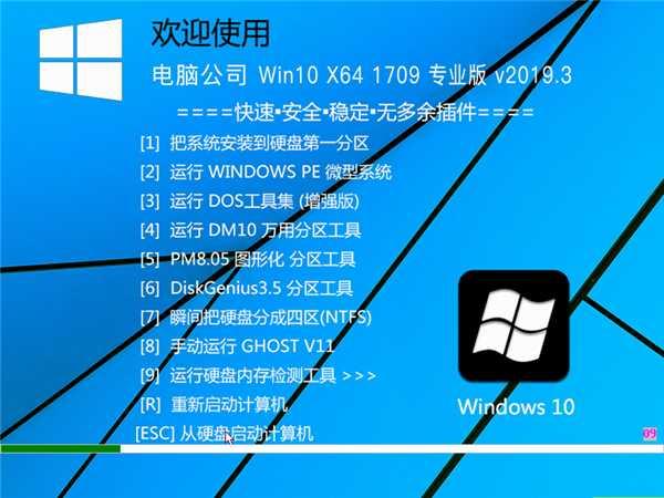电脑公司 WIN10 X64 1709 专业版 v201903
